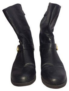 Steve Madden Moto Boot Black and Gold Boots