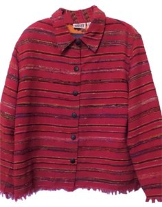 Chico's Silk Jacket Handwoven Fringe Red with Multi-Color Blazer