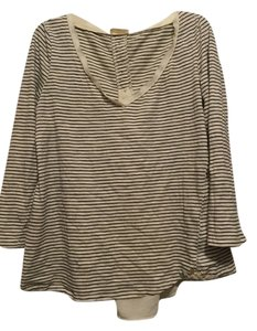 Anthropologie Striped Buttoms Back Details Top Cream