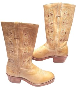 Frye Flower Cut Out Leather Riding Tan Boots