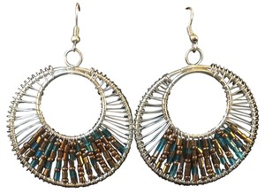 Francesca's Silver Wire Earrings with Bronze and Blue Beading