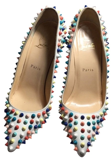 Item - White with Multi Colored Spikes 120mm Gomme Pigalle Pumps Size US 8 Narrow (Aa, N)