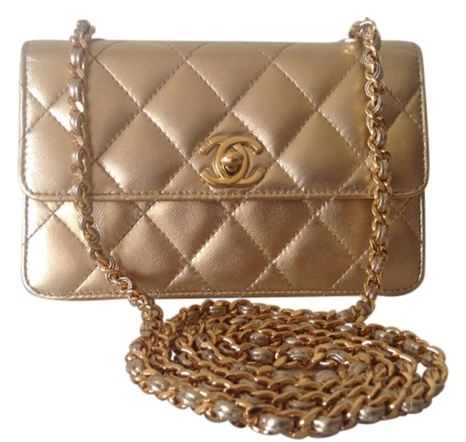 f5f71da1c8de2 Chanel Classic Flap Rare Vintage Mini Gold Lambskin Leather Cross ...