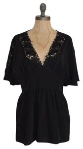 Tibi Lace Accent Cap Sleeve Top BLACK
