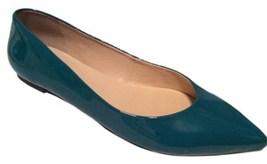 Talbots Pointed Toe Leather Patent Leather Teal Green Blue Flats