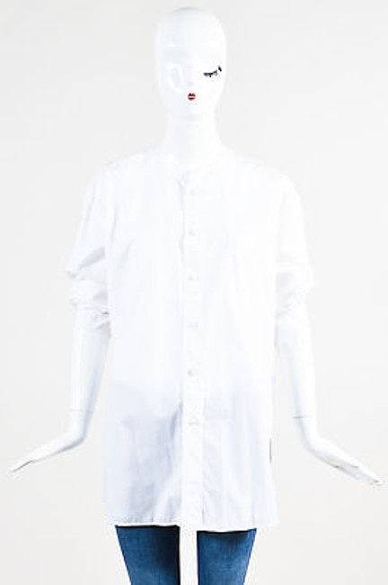 Item - White W Buttoned Shirt W/ Removable Collar & Cuff Button-down Top Size 6-s