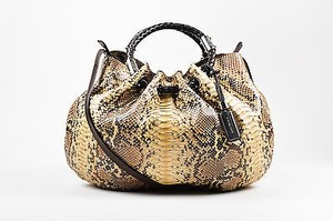 Michael Kors Beige Skorpios Python Leather Braided Handle Shoulder Bag