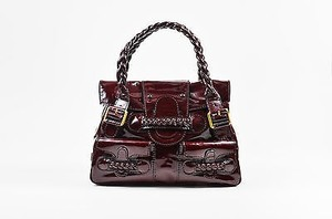 Valentino Oxblood Patent Leather Histoire Satchel in Red