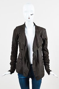 Rick Owens Bitter Lamb Leather Wool Draped Button Down Ls Brown Jacket