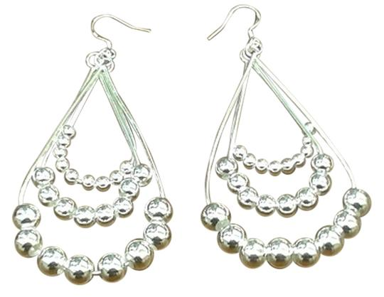 Impulses Sterling Silver Triple Bean Chain Earrings