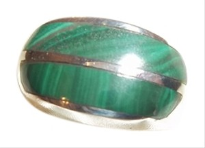 HEAVY Sterling Silver Malachite Inlay Band Ring Size 6 EUC 14.5 Gms