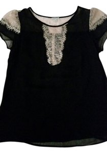 Charlotte Russe Chiffon Top Black with cream lace