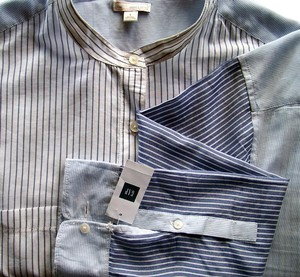 Gap Cotton Longsleeve Striped Band Collar Button Down Shirt Blue