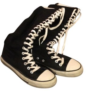 Airwalk Shoes Black And White Lace Up Knee High