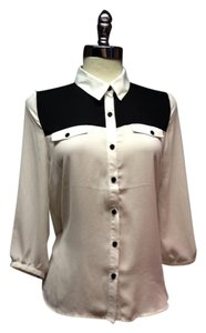 Forever 21 Button Down Shirt Colorblock Black & White