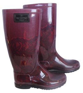 Valentino Lace Burgundy Boots