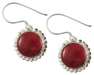 Island Silversmith Island Silversmith Genuine Red Coral 925 Sterling Silver Dangle Earrings 0701H *FREE SHIPPING*