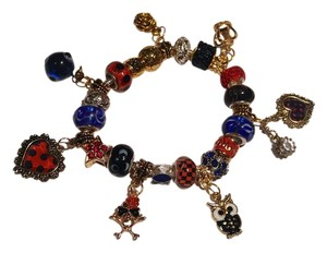 Gold Blue & Red European Charm Bracelet W/ Murano Glass Beads B401