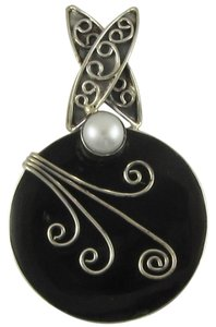 Island Silversmith Island Silversmith Black Onyx 925 Sterling Silver Tribal Pendant w Pearl Accent 0701R *FREE SHIPPING*