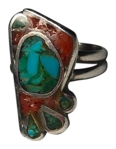 Vintage Native American Sterling Silver Turquoise & Red Corral Ring Size 6 R402