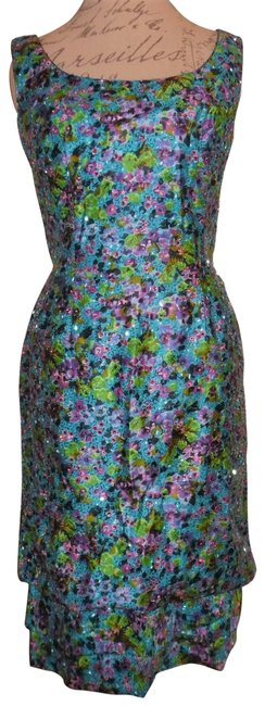 Item - Teal Purple Green Pink Michelle Pfeiffer Hairspray Vintage 60s Beaded Tiered Sleeveless Knee Length Cocktail Dress Size 12 (L)