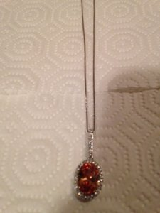 Sterling Silver Champagne Cz Pendant With Clear Czs