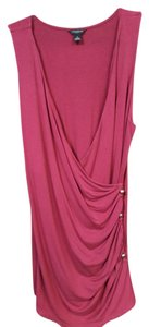 Ann Taylor Pink Cotton Comfortable Top Burgundy/Maroon