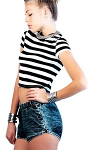 Mark and Estel Crop Casual Edgy T Shirt Black & White Striped