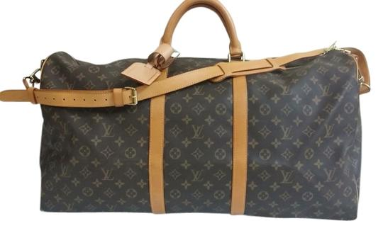 Louis Vuitton Keepall 60 Bandouliere Monogram Canvas Leather Weekend/Travel Bag