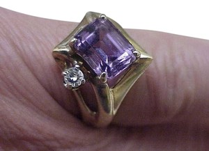 Other Estate Vintage 14k Yellow Gold 4.00ct Amethyst & Diamond Ring ,1930's