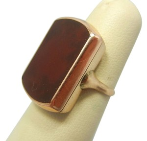Other Rare Victorian 14k Solid Yellow Gold Large Carnelian Stone Ring, 1800s