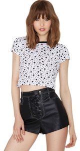 Nasty Gal Cool Girl Star Crop T Shirt Black and white