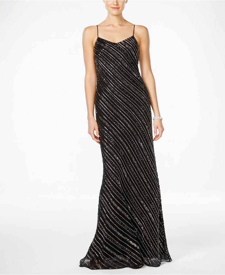 Adrianna Papell Black Fully Beaded Gown Long Formal Dress Size 10 (M ...
