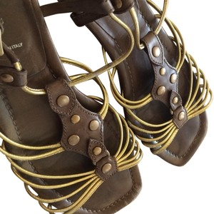 Prada Leather Italy Brown Gold Sandals