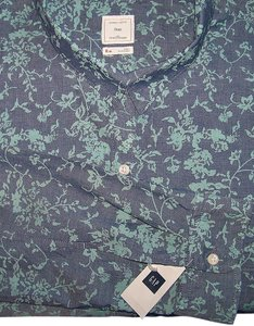 Gap Floral Print Chambray Boyfriend Cotton Shirt Button Down Shirt Turquoise