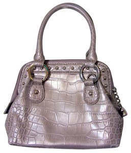 Kathy Van Zeeland Silver Crocodile Satchel in Pewter