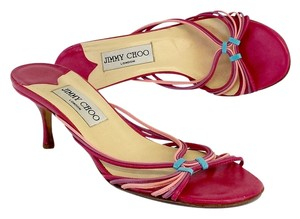 Jimmy Choo Fuchsia Blue Leather Sandals