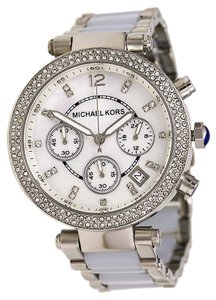 Michael Kors Michael Kors Parker Mother of Pearl Dial Stainless Steel and Chambray Acetate Ladies Watch MSRP $295