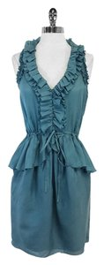 Rebecca Taylor short dress Teal Silk Ruffly Sleeveless on Tradesy