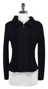 Elie Tahari Black Cowl Neck Zip Up Jacket