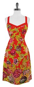 Nanette Lepore Red Floral Silk Sleeveless Dress