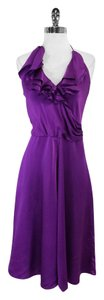 Halston Purple Silk Ruffle Front Dress