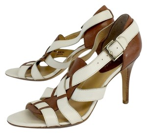 Cole Haan Ivory Brown Leather Strappy Sandals