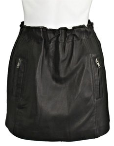 Factory by Erik Hart Mini Leather Mini Skirt Black