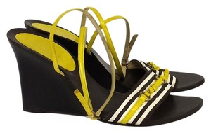 Kate Spade Yellow Brown Strappy Wedges