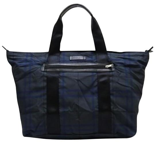 Preload https://item5.tradesy.com/images/coach-f93314-gray-plaid-nylon-leather-weekendtravel-bag-1446364-0-2.jpg?width=440&height=440