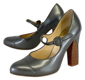 Cole Haan Silver Leather Mary Jane Pumps