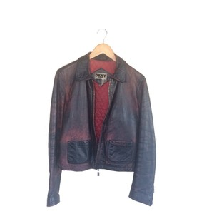 DKNY Leather Black Red Jacket
