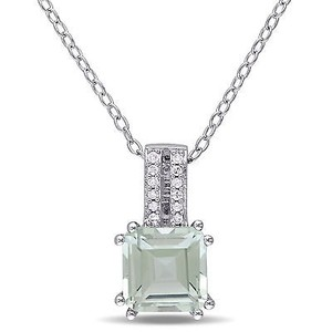 Amour Sterling Silver Green Amethyst And Diamond Accent Drop Pendant Necklace 18