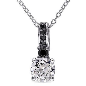 Amour Sterling Silver White Sapphire And 16 Ct Tdw Black Diamond Pendant Necklace 18
